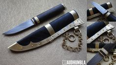 Viking knife in black leather. Pattern welded blade in 15N20/1095 with wire wrap bog oak handle and brass bolsters with draw ring. Black leather sheath with incised spiral and box pattern and brass fittings. Step shaped filings with tin underlay. Brass rivets. Chain suspension for a belt divider.