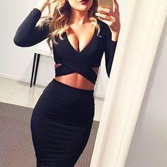 High Waist Skirt + Crop Top idea (tight, nightclub look)