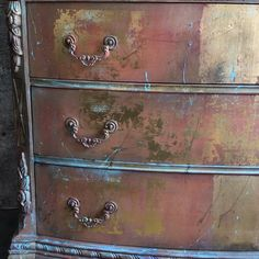 """We """"Dare To Be Vintage"""" created this Bohemian Style Dresser using Gold Leaf with multiple layers of paint. [Video] We """"Dare To Be Vintage"""" created this Bohemian Style Dresser using Gold Leaf with multiple layers of paint. Gold Leaf Furniture, Bohemian Furniture, Chalk Paint Furniture, Hand Painted Furniture, Funky Furniture, Refurbished Furniture, Bohemian Decor, Vintage Furniture, Repurposed Furniture"""