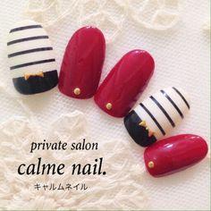 Red, white, black nail