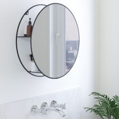Umbra - Cirko Round Mirror & Storage Unit, Black Sleek, stylish and with secret shelves; you won't find better than the Umbra Cirko Round Mirror & Storage Unit, Black! This modern wall mirror is great for small spaces and minimalist living, Large Round Mirror, Round Wall Mirror, Round Mirrors, Secret Storage, Hidden Storage, Storage Cabinets, Storage Shelves, Small Space Living, Small Spaces