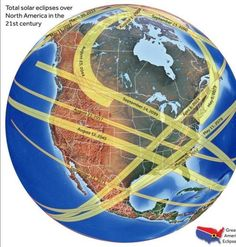 Map of all North American eclipses, 21st century.