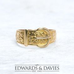 10-1/4 Antique Yellow Gold Buckle Ring  Men's Buckle Wedding