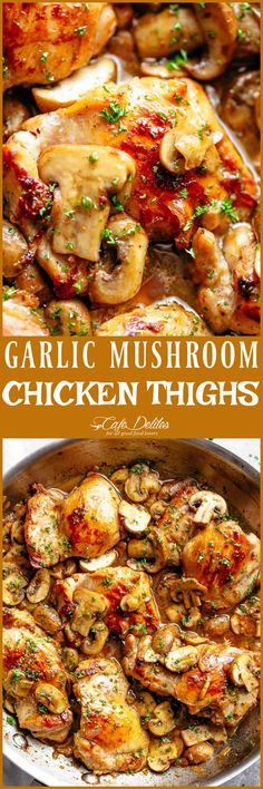 Golden seared chicken thighs in a delicious, buttery garlic mushroom sauce with a sprinkle of herbs is THE weeknight dinner everyone raves about! Serve over rice, pasta, mashed potatoes OR lower carb options like mashed cauliflower or zucchini noodles! Easy Chicken Recipes, Turkey Recipes, Dinner Recipes, Healthy Chicken Thigh Recipes, Recipes With Chicken Thighs, Paleo Chicken Thighs, Chicken Fillet Recipes, Chicken Thighs Dinner, Slow Cooker Chicken Thighs