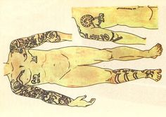 Drawings of the tattoos from a Pazyryk mummy. How modern the design looks, it has almost 3 thousand years.
