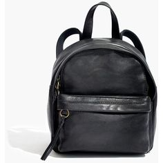MADEWELL The Lorimer Mini Backpack ($158) ❤ liked on Polyvore featuring bags, backpacks, true black, leather backpacks, leather bags, mini bag, madewell and real leather backpack