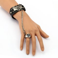 6/pcs MS Jewelry Assassins Creed Leather Bracelet Link Charm Bracelets Game Cosplay Punk Bangle Men Women