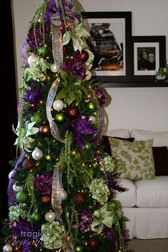 Christmas tree - purple and green