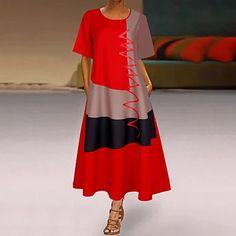 LightInTheBox - Global Online Shopping for Dresses, Home & Garden, Electronics, Wedding Apparel Grey Midi Dress, The Dress, Womens Swing Dress, Floryday Vestidos, Robe Swing, Shift Dresses, Maxi Dresses, Loose Dresses, Fashion Dresses