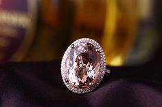 14.89ct Large Oval Morganite Pave Diamond Pure by ChangxingJewelry - temporary engagement ring