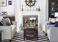 Join the deck set  A nautical theme conjures up images of Hamptons holiday homes and luxury yachts. It's actually quite cheap to achieve, though, with a few choice fabrics and accessories. Embrace the look in your living room by layering up smart navy prints, from stripes to anchors. Complete the look with sea-themed accessories, such as storm lanterns or a wooden ship's wheel.   Read more at…