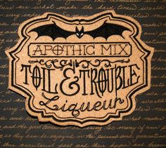 Toil and Trouble Liqueur Apothecary Potion  Iron On by MTthreadz