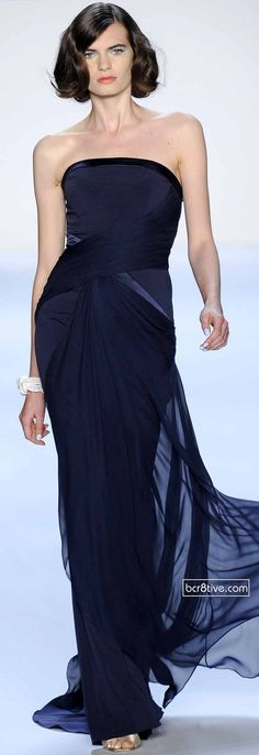 Badgley Mischka Spring 2014 at New York Fashion Week, dramatic color on this strapless gown.