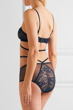 Lonely - Winona Velvet-trimmed Lace And Tulle Soft-cup Bra - Midnight blue - 34B