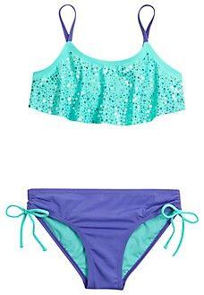 A beautiful turquoises and purple sparkely bikini