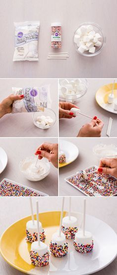 ^^  Sprinkle-Dipped Marshmallow Pops make for the perfect picnic date dessert.  1. Poke lollipop sticks into marshmallows. 2. Heat up candy melts in the microwave. 3. Dip marshmallows into melted candy and roll in sprinkles. 4. Let them dry and enjoy!