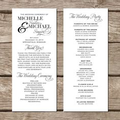 Simple Elegant Wedding Program // Modern Trendy by FallForDesign