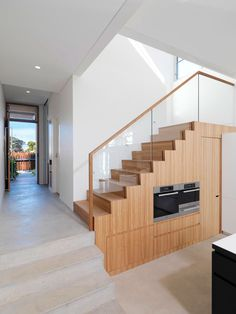 Staircase Concrete And Wood Gorgeous Modern Residence Displaying a Interesting Asymmetrical Facade in Sydney