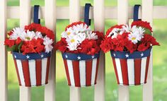 Americana Flag Hanging Garden Planters - Set of 3