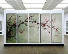 5231 free shipping handpainted 5 piece modern decora oil painting on canvas wall art cherry blossom for living room unique gift $56.00