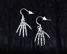 Buy 3 Get 1 Freesilver Skeleton Hands Dangle Earringscreepy Halloween Gift Halloween Earrings, Halloween Jewelry, Halloween Gifts, Skeleton Hands, Free Silver, Organza Gift Bags, Antique Silver, 925 Silver, Sterling Silver