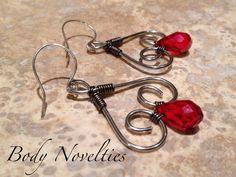 Red Tear Drop Crystal Wire Wrap Earrings.