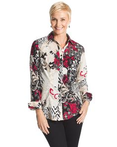 Caroline Asian-Floral Shirt $89