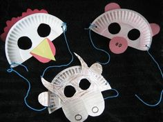Farm Animal Masks made from paper plates. Very functional for whipping up a quick disguise.  #animalmasks #farmanimals