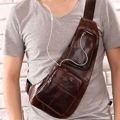 Men Vintage Genuine Leather Cross Body Messenger Shoulder Sling Pack Chest Bag