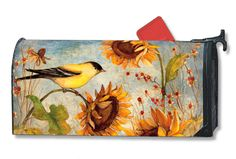 Magnet Works Mailwraps Mailbox Cover - Yellow Finches Design Magnetic Mailbox Co at GardenHouseFlags