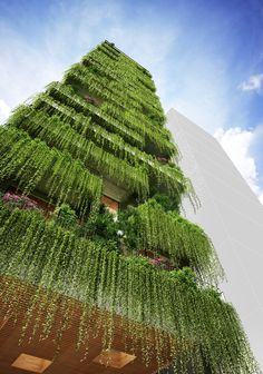 Image 6 of 12 from gallery of VTN Architects Designs Hotel with Cascading Greenery for Narrow Site in Vietnam. Courtesy of VTN ArchitectsVTN Architects Designs Hotel with Cascading Greenery for Narrow Site in Vietnam,Courtesy of VTN Architects Architecture Durable, Landscape Architecture Design, Green Architecture, Futuristic Architecture, Sustainable Architecture, Biophilic Architecture, Architecture Tools, Hotel Architecture, House Landscape