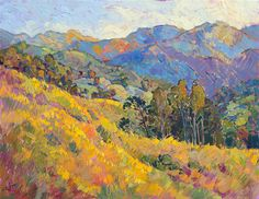Mustard wildflowers growing in central California, painted in oils on 24 karat gold leaf, by Erin Hanson