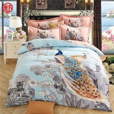 flowers and peacock print bedding set for queen king size Sanding cotton duvet cover set bedsheet pillowcase Linen Bed Sheets, Bed Linen Sets, Bed Linens, King Size Bed Linen, Peacock Bedding, Linnet, Quilt Cover Sets, Bed Covers, Flat