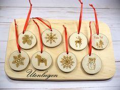 Astscheiben, Weihnachtsmotive, Baumschmuck oder Geschenkanhänger