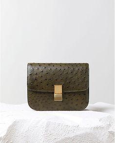 Classic Handbag in Khaki Ostrich // Celine