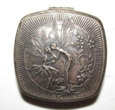 Vintage Estate 1920s Art Deco DJER KISS Compact & two Mirrors Kissing Fairies