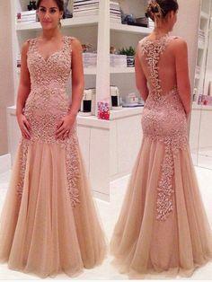 Mermaid V-Neck Sleeveless Natural Floor-Length Tulle Prom Dresses
