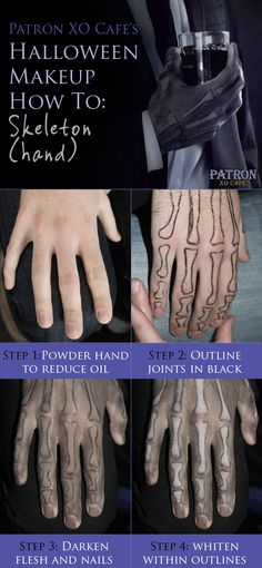 Patrón XO Cafe's Halloween Makeup How To: Skeleton (hand)
