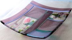 Art Fused Glass Plate Handmade Designer by GlassWorksLimited, $39.00