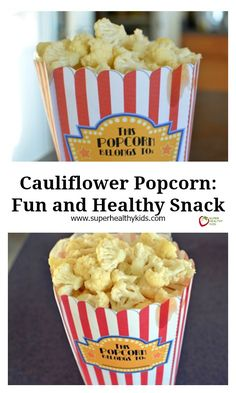 Cauliflower Popcorn: Fun and Healthy Snack - Give us cauliflower and we'll give you popcorn! http://www.superhealthykids.com/cauliflower-popcorn-fun-and-healthy-snack/