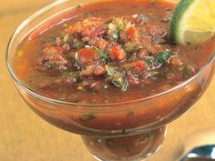 This cold, chunky tomato soup may remind you of gazpacho, but the red pepper gives it a spicier flavor. , What you will need 2 cups grape or cherry tomatoes