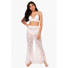 Boohoo Lara Lace Flare Frill Beach Trouser (415 ZAR) ❤ liked on Polyvore featuring swimwear, bikinis, beach kimono, bikini swimwear, ruffle bandeau bikini, 2 piece bikini and high-waisted swimwear