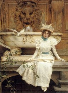 V.M. Corcos - Waiting by the fountain