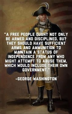 G. Washington knew the greatest threat to our freedom was our own government. Gun Rights, George Washington, Great Quotes, Me Quotes, Wise Words, Great Words, American History, Favorite Quotes, Common Sense