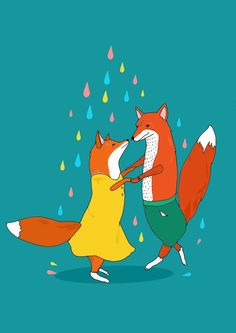 """Foxes Dancing in the Rain"" by Stacie Swift on etsy.com"