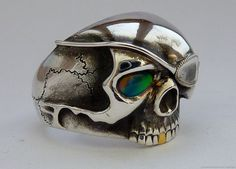 Sterling silver pirate skull opal mens ring by MonumentsToCulture
