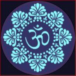 Símbolo do OM na mandala de Alpona Lotus Adesivos Em Formato Redondos | Zazzle