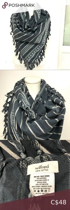 """Wilfred scarf NWOT Wilfred blanket scarf- NWOT- never worn. Beautiful 100% woven cotton in two-tone grey that goes with everything. Measures approx 48""""x48"""". Wilfred Accessories Scarves & Wraps"""