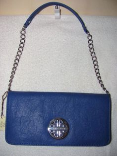 'Kate Landry Blue Faux Leather Shoulder Handbag' is going up for auction at  8am Wed, May 8 with a starting bid of $25.