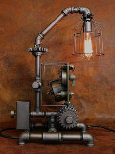 Steampunk Machine Age Lamp John Deere Gear Panel Gauge Industrial Art Light 2